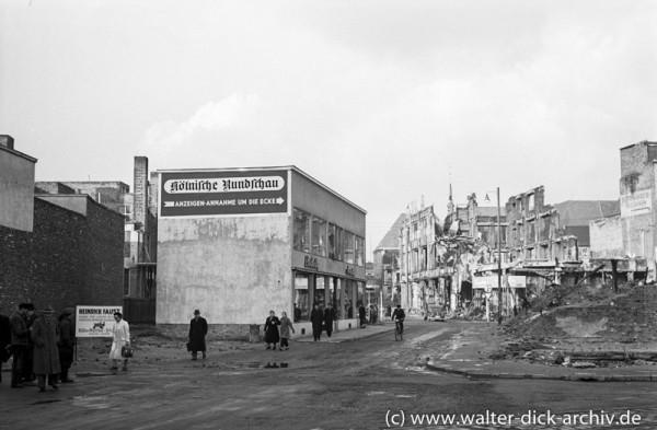 Trümmer und Wiederaufbau in der Kölner Innenstadt