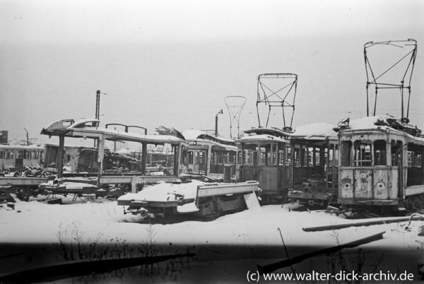 Fahrzeugwracks der Kölner Straßenbahnen