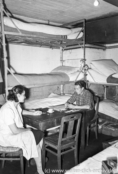 Notunterkunft im Bunker 1951