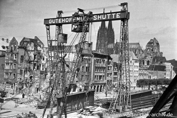 Bau der Köln-Deutzer Brücke