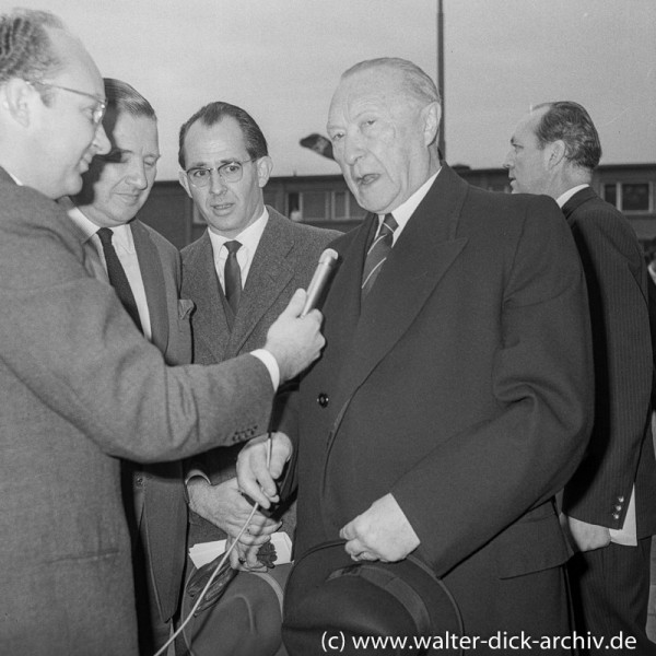 WDR Reporter Rolf Buttler interviewt Konrad Adenauer und Henry Ford II
