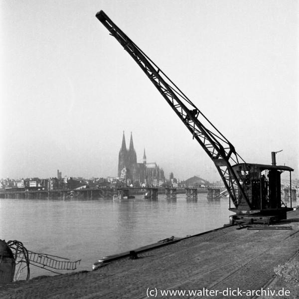 Blick vom Deutzer Werft auf die Behelfsbrücke und den Kölner Dom