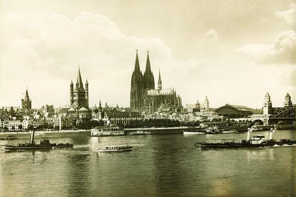 Postkarte Köln Altstadt Rheinpanora Druck