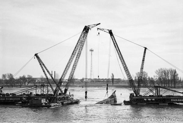 Bergung von Trümmern aus dem Rhein 1952